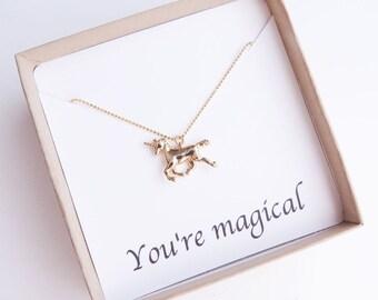 Unicorn Necklace, Gold Unicorn, Unicorn Birthday, Fashion Necklace, Birthday Gift, One of a Kind