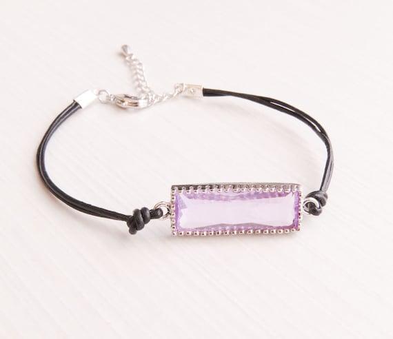 Bar Bracelet | Leather Bracelet | Purple Bar Bracelet | Gemstone Bar Bracelet | Layering Bracelet