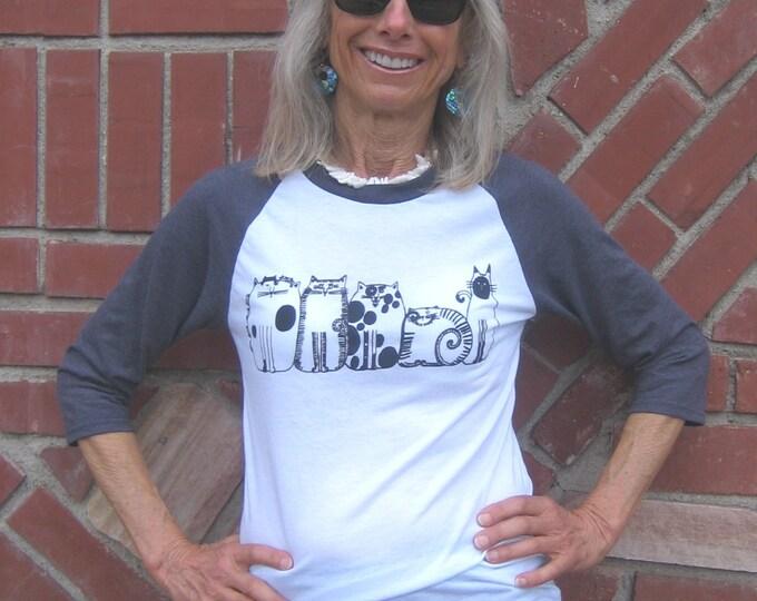 Five Cats Unisex Tri Blend Baseball T Shirt
