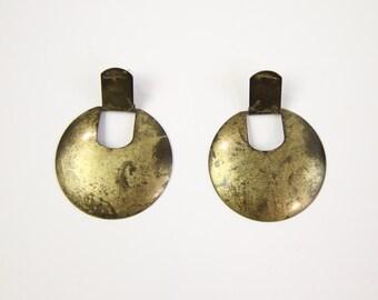 VINTAGE Round Brass Earrings Dangle Big Pierced