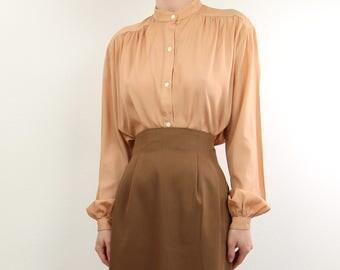 VINTAGE 1970s Blouse Apricot Shirt Longsleeve