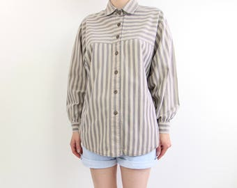 VINTAGE 1980s Striped Shirt Taupe Womens Cotton Top