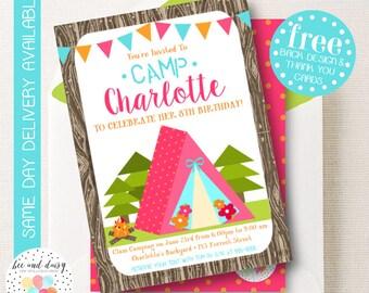 Glamping Invitation, Glamping Birthday Invitation, Glamping Birthday Party, Glamping Party Invitation, Glam Camping, BeeAndDaisy