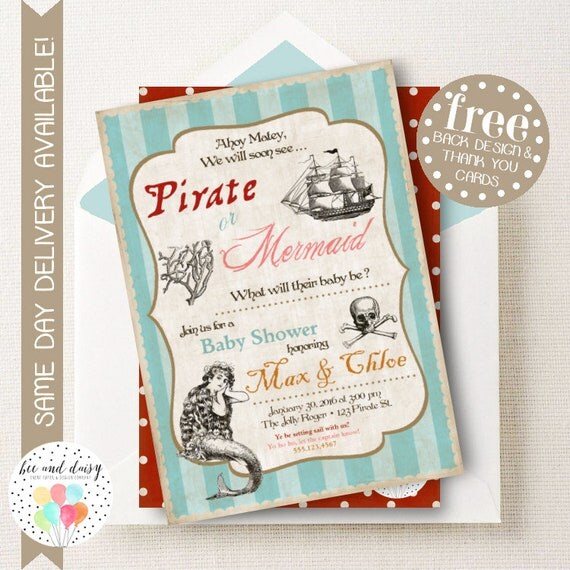 Pirates And Mermaids Gender Reveal Invitation
