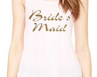 Bride's Maid Funky Loose tank top , bridal party shirts - bridesmaid gold glitter t-shirts - loose, longer, flowy, sexy , unique