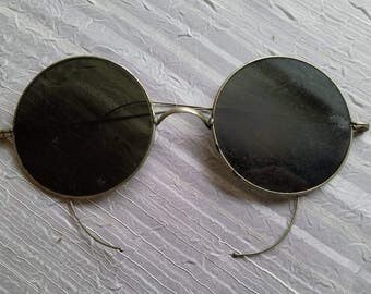 Antique Vintage Round Sunglasses with Case Steampunk As Is