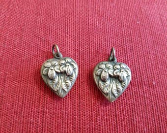 Vintage Antique Sterling Silver Puffed Heart Pendant Charm with 2 Flowers