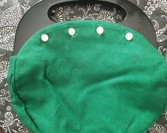 Vintage Green Wool Bermuda Bag Purse Black Wooden Handles 1960s 1970s Buttons