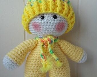 Crochet Big Head Doll, Yellow Big Head Doll, Amigurumi Doll, Crochet Big Head Doll, Big Head Plushie, Crochet Kawaii Doll, Gift Idea