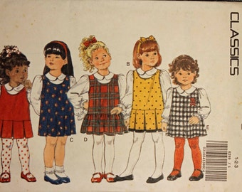 Toddler Girls Size 1 2 3 Butterick Classics 6299 Pull-over Jumper Dress Casual Child Baby Sewing Pattern Sew Uncut