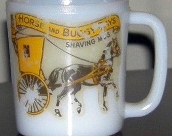 Antique Horse and Buggy Days Shaving Milk Glass Mug