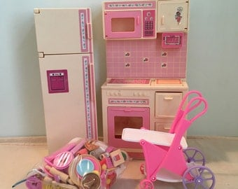 Vintage Barbie Sweet Roses Cooking Center and Refrigerator
