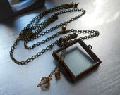 Vintage Glass Window Locket, Glass front and back, Slide lock, Downton Abbey, Patina'd brass, Boho, Hand made, Crystal Charms, Very unique.
