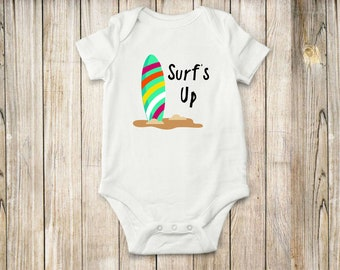 Surfs up, onesie, bodysuit, children clothing, baby clothing, surfing