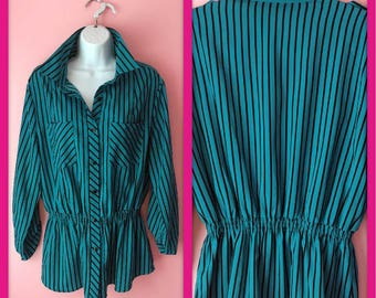 Vintage Teal and Black Striped Button Up Blouse Size Medium