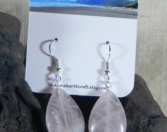 Pink rose quartz earrings large faceted teardrop semiprecious stone jewelry packaged in a colorful gift bag 3142