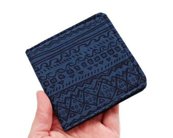 Vegan Wallet Men,Slim Wallet Blue,Tribal Fabric Wallet,Thin Bifold Wallet,Geometric Wallet,Scribble Print Gift,Cool Manly Gift,Brieftasche