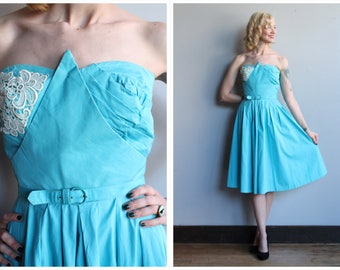 1950s Dress // Virginia Spear Strapless Dress // vintage 50s dress