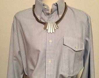 LL Bean vintage blue striped oxford