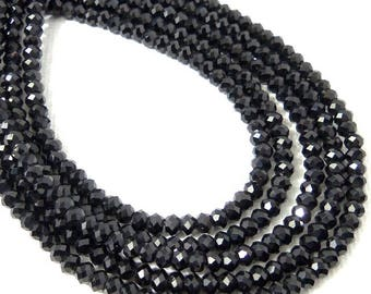 Black Garnet Bead, 3mm, Rondelle, Microfaceted, Black, Natural Gemstone Beads, Untreated, Very Small, 13 Inch Strand - ID 2315