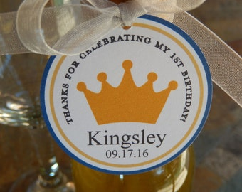 """50 Birthday Thank You 2"""" Custom Favor Tags with Crown or Tiara Graphic - for Mini Wine or Champagne Bottles - Mason Jar Favors - Party Gifts"""