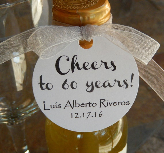 """Birthday Thank You Custom 2"""" Favor Tags - Cheers to 60 Years! - for Mini Champagne and Wine Bottles - (50) Personalized Gift Favor Tags"""