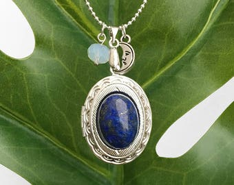 Get 15% OFF - Natural Gemstone Cabochon Silver Oval Locket with Sterling Silver Plated Necklace - Labor Day SALE 2017