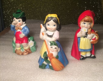 Vintage Hand Painted Snow White, Red Riding Hood, and Pinocchio Bells