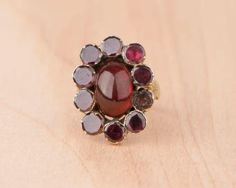 Layaway Payment #2 of 3 -----Love Child Garnet Halo Cabochon Ring 10k Yellow Gold