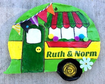 personalized, camper, ornament, vintage camper, green, yellow, magnet, decoration, travel, camping