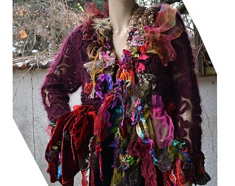 RESERVED Wonderful Unique Art To Wear Long Rich Wool Jacket With Silk Velvet  The RED QUEEN  Forest  Fairy Antoinette Boho Gipsy Tattered