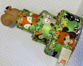 Baby Diaper Cake Woodland Animals Squirrel Topper Shower Gift Centerpiece