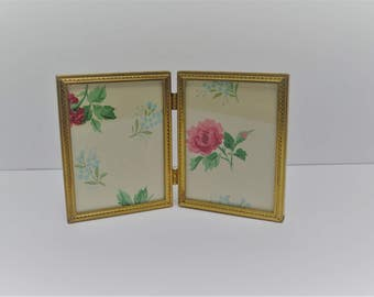Double 3 x 4 Gold Plated Brass Bi-Fold Picture Frame  Mid Century Picture Frame Hinged folding