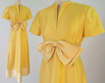 1960s Bright Yellow Formal Dress / Vintage Yellow Floor Length Dress