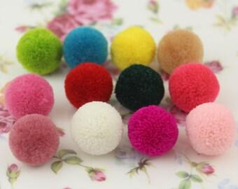 30 pcs Colorful Cashmere Fabric Pom Pom Balls (2 cm ) Girls Hair Clips Hairbands Embellishment