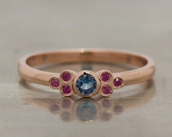 Blue Topaz In The LUIGINA Ring With Rubies in 14k Rose Gold