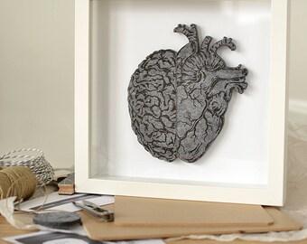 grey, Image of felt brain and heart