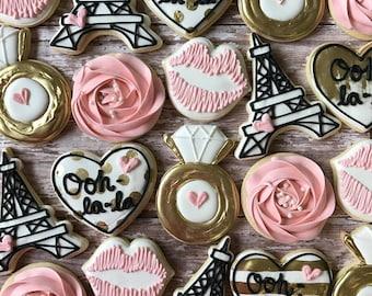 Paris Bachelorette Sugar Cookies