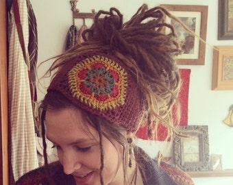Crochet Flower Dreadband, Headband, Dread Wrap, Hair band