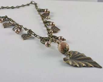 Necklace Antique Brass Leaf Pendent and Pearls Earthly Colors