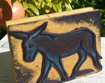 Vintage French Paper Printer illustrators Wooden and Rubber Stamp Donkey Mule Ass