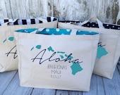 10+ LINED Aloha Hawaii Island Chain Custom Destination Wedding Welcome Canvas Market Tote Bags