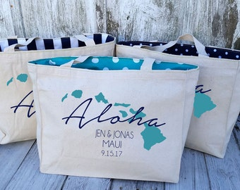 10+ LINED Aloha Hawaii Island Chain Custom Destination Wedding Welcome Canvas Market Tote Bags