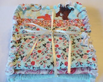 Baby Girl Rag Quilt Burp Cloth Set of 3 Baby Burp Towels Retro Cowgirl Western Rodeo Sweetheart Aqua Dusty Pink Brown Cotton Chenille