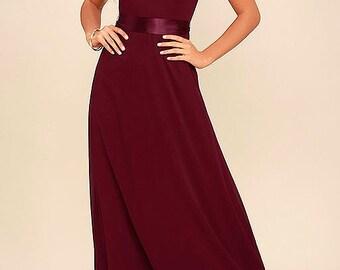 Wine Chiffon Bridesmaid Dress , Shabby Chick