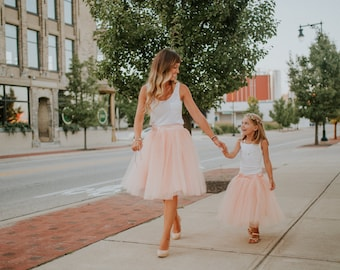 Peach Mother and Daughter Tutu Skirts Set, Mommy and Me Skirts, Color of Your Chose