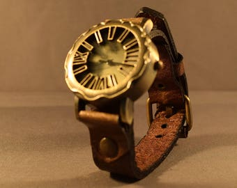 Leather Watch, Brown Leather Watch, Brass Watch, Mens Watch, Womens Watch, Leather Cuff Watch, Bracelet Watch, Leather Wristband, Gifts