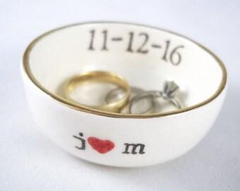 CUSTOM WEDDING GIFT for couple- gift for girlfriend - boyfriend gift - spring wedding gift  - bridal shower gift - gold rim ring holder