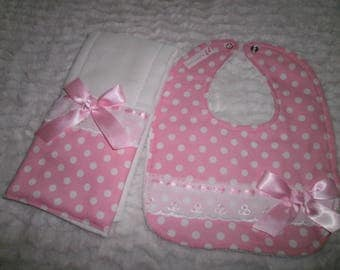 Burp Cloth & Bib Set, Pink Dot's, Baby Girl Bib, Baby Girl Burp Cloth Set, Baby Shower, Baby Gift, Newborn, Girl Set, Girls Bib Set