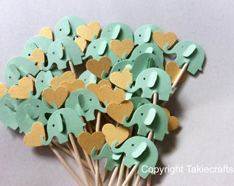 24 Mint Green elephant cupcake toppers Party Picks - Cupcake Toppers - Toothpicks - Food Picks